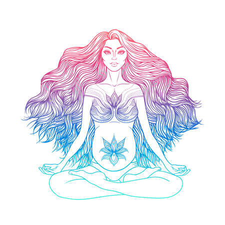Hand drawn vector illustration of pregnant woman sitting in lotus pose yoga. Meditation