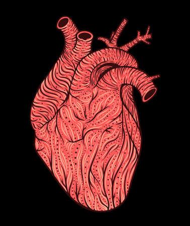 Human heart line art. Vector illustration. Tattoo style. Vintage
