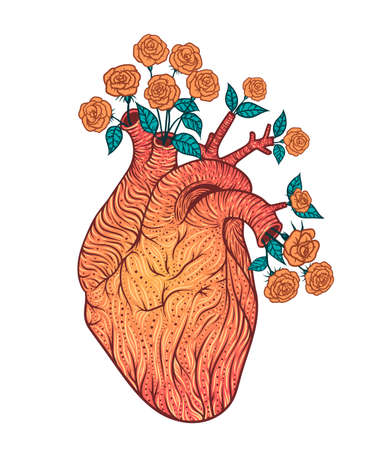 Human heart with flowers. Vector illustration. Tattoo style. Vintage Illustration
