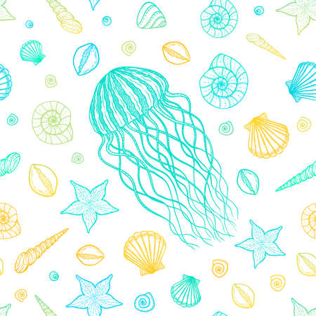 Seamless pattern with jellyfish and shells in line art style. Hand drawn vector illustration. Set of ocean elements Illustration