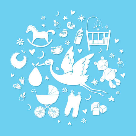 Set of hand drawn elements. Baby boy stuff. Collection of vector cute elements. Vector Illustration