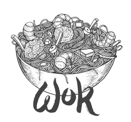 food: Asian fastfood with noodles shrimps, pepper, vegetables in a plate. Hand drawn vector illustration of tasty food doodle style