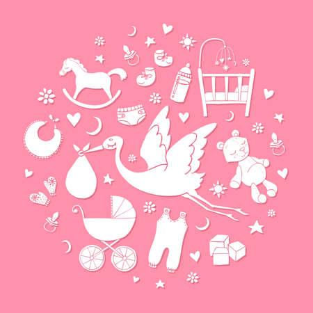 Satz von Hand gezeichneten Elementen. Baby-Sachen. Sammlung von niedlichen Vektorelementen.