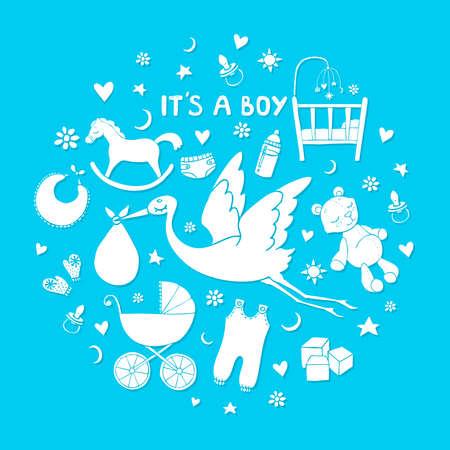 Satz von handgezeichneten Elementen. Baby-Sachen. Sammlung von Vektor cute Elemente. Standard-Bild - 75105251