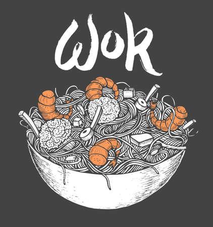 Asia comida rápida con fideos camarones, pimienta, verduras en un plato. Dibujado a mano ilustración vectorial de estilo sabroso del doodle de la comida Foto de archivo - 75067147
