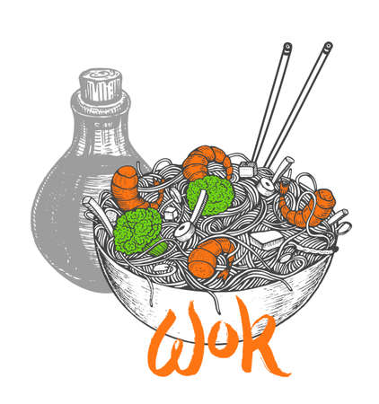 Asian fastfood with noodles shrimps, pepper, vegetables, soy sauce in a plate. Hand drawn vector illustration of tasty food doodle style