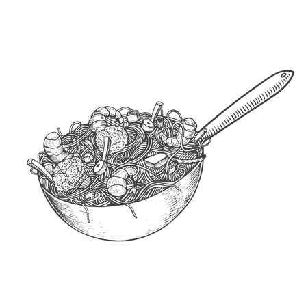 Asian fastfood with noodles shrimps, pepper, vegetables in a wok pan. Hand drawn vector illustration of tasty food doodle style