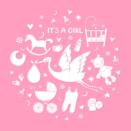 Set of hand drawn elements. Baby girl stuff. Collection of vector cute elements.