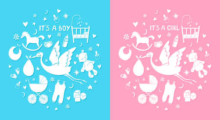 Set of hand drawn elements. Baby stuff. Collection of vector cute icons. Its a boy and girl