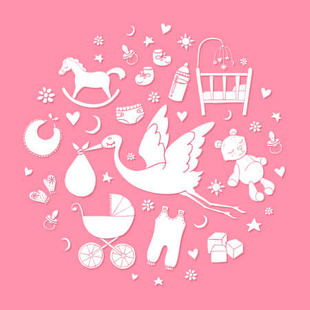 손으로 그린 요소 집합입니다. 아기 소녀 물건입니다. 벡터 귀여운 요소의 컬렉션입니다. 일러스트