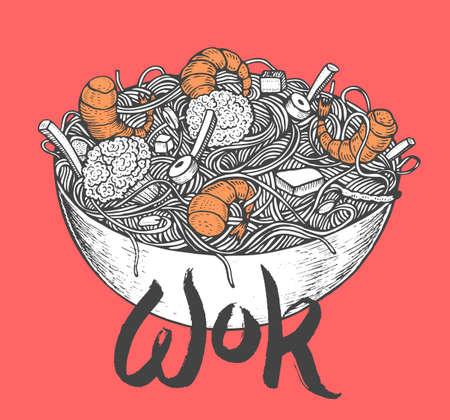 Asia comida rápida con fideos camarones, pimienta, verduras en un plato. Dibujado a mano ilustración vectorial de estilo sabroso del doodle de la comida Foto de archivo - 75105665