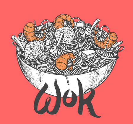 Asian fastfood with noodles shrimps, pepper, vegetables in a plate. Hand drawn vector illustration of tasty food doodle style