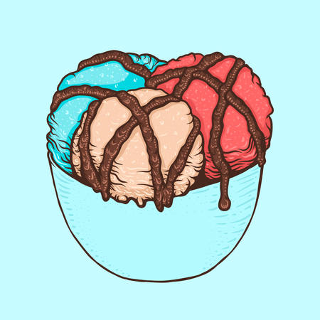 Three scoops of ice cream with chocolate sauce in a cup. Hand drawn doodle illustration in cartoon style