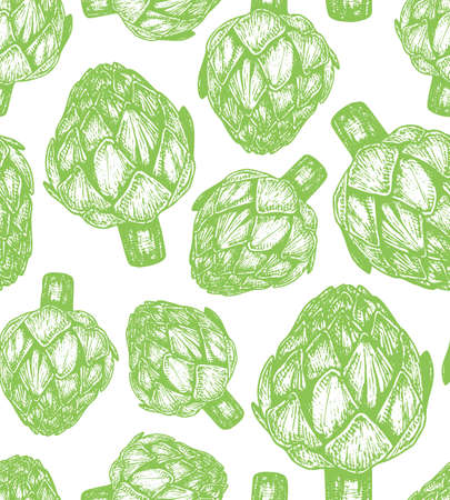 Hand drawn vector illustration of artichoke sketch style. Seamless pattern with green doodle vegetable element