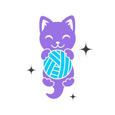 Een paarse vorm van kitten met bal in poten. Cat-logo. Eenvoudig dierenlogotype voor winkel en dierenartskliniek of met de hand gemaakt bedrijf