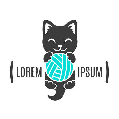 Black shape of kitten with ball in paws. Cat logo. Simple animal logotype for shop and vet clinic. Handmade company Ilustração