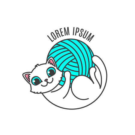Logo with cat in circle composition. Little kitten lies on the back and hold in own paws yarn ball. Logotype for handmade company or shop