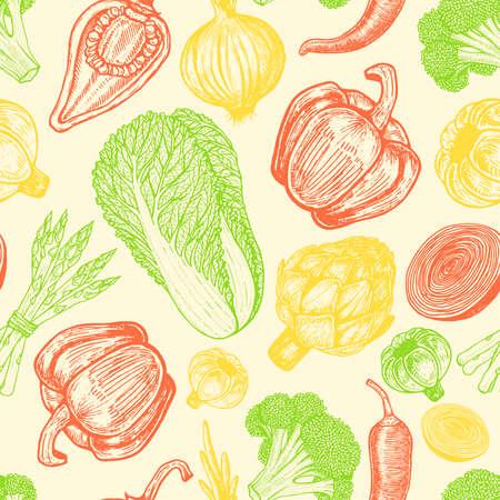 手描きの要素のセットを持つシームレス パターン。新鮮な野菜をスケッチします。異なったコショウ。アーティ チョーク、アスパラガス。
