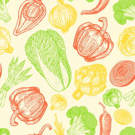 Seamless pattern with set of hand drawn elements. Sketch style fresh vegetables. Different peppers. Artichoke and asparagus.