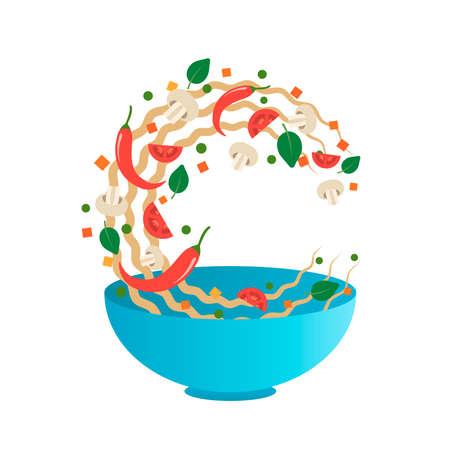 Roer fry vectorillustratie. Flipping Aziatische noedels met groenten in een blauwe kom. Cartoon vlakke stijl