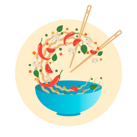 Stir fry vector illustration. Flipping Asian noodles with vegetables in a blue bowl. Cartoon flat style Illustration
