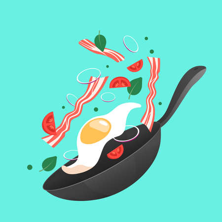 Cooking process vector illustration. Flipping fry egg in a pan. Cartoon flat style