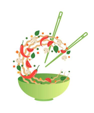 볶음 튀김 벡터 일러스트 레이 션. 녹색 그릇에 야채와 아시아 국수를 뒤집기. 만화 플랫 스타일