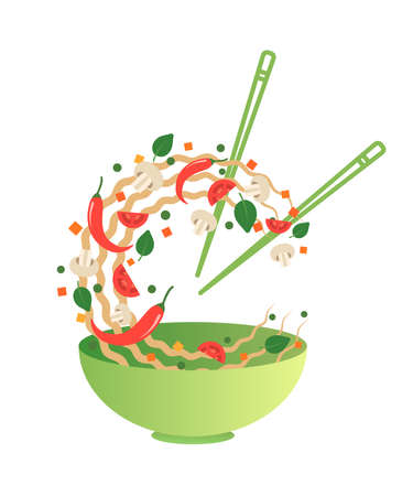 Stir fry vector illustration. Flipping Asian noodles with vegetables in a green bowl. Cartoon flat style Illustration