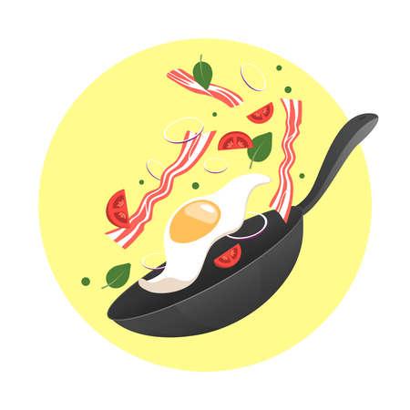 Koken proces vectorillustratie. Frituur het ei in een pan. Cartoon vlakke stijl