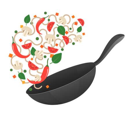 튀김을 저어 라. 요리 프로세스 벡터 일러스트 레이 션. 냄비에 아시아 국수를 뒤집기. 만화 스타일입니다. 플랫