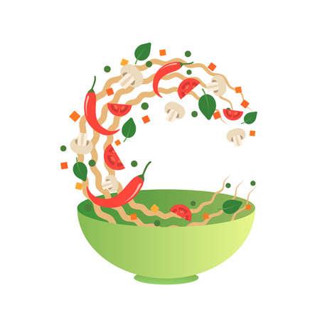 Roer fry vectorillustratie. Flipping Aziatische noedels met groenten in een groene kom. Cartoon vlakke stijl