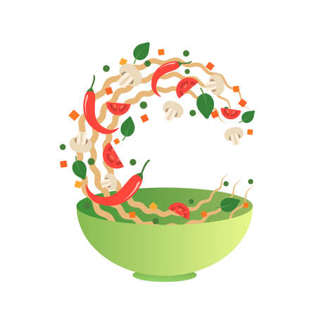 Stir fry vector illustration. Flipping Asian noodles with vegetables in a green bowl. Cartoon flat style Ilustrace