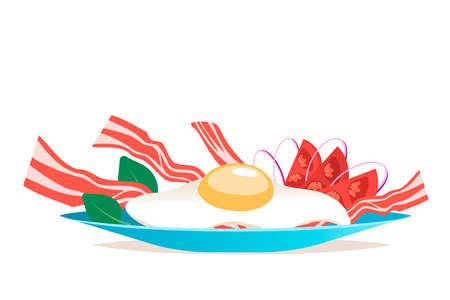 달걀과 베이컨 벡터 일러스트와 함께 아침 식사. 만화 플랫 스타일