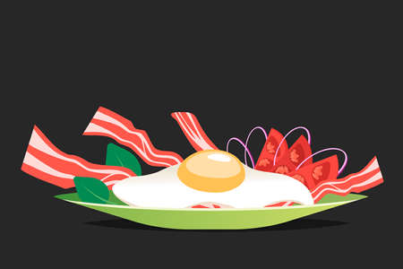Breakfast with egg and bacon vector illustration. Cartoon flat style