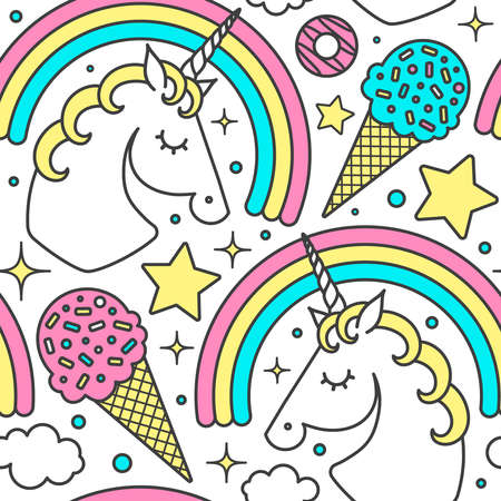Seamless pattern with unicorn, rainbow, clouds, stars, ice cream, donuts. Vector cartoon style cute character. Isolated on white
