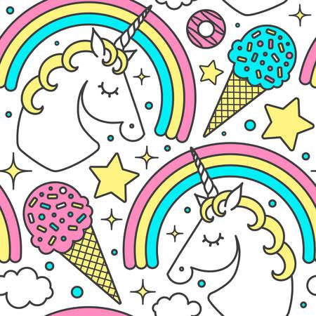 Patrón sin fisuras con unicornio, arco iris, nubes, estrellas, helado, donuts. Personaje lindo de estilo de dibujos animados de vector. Aislado en blanco