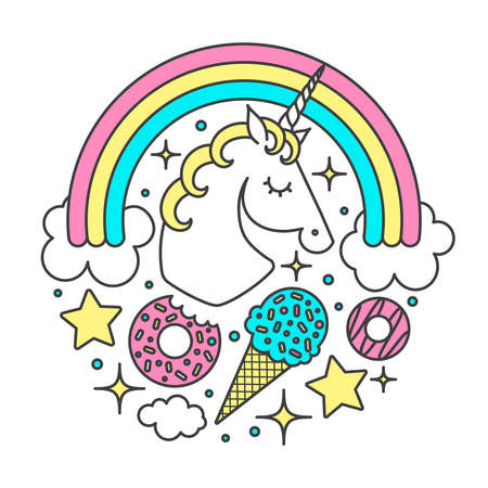 Vector circle composition with unicorn, rainbow, clouds, stars, ice cream, donuts. Cartoon style cute character