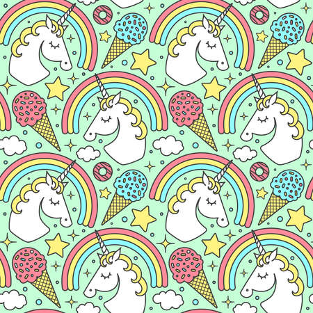Seamless pattern with unicorn and rainbow on green background. Vector cartoon style cute character