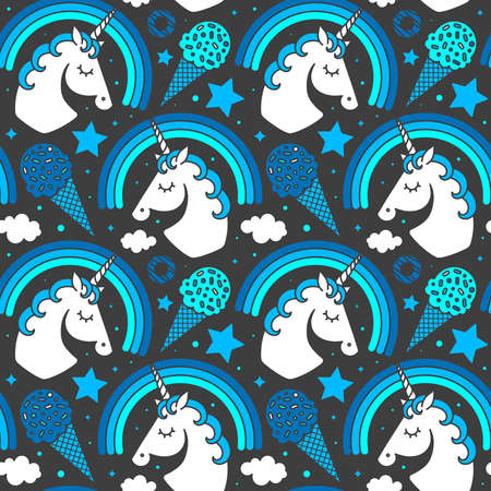 Seamless pattern with unicorn and rainbow on dark background. Vector cartoon style cute character