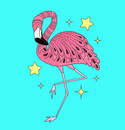 Card with hand drawn vector pink flamingo. Doodle elements