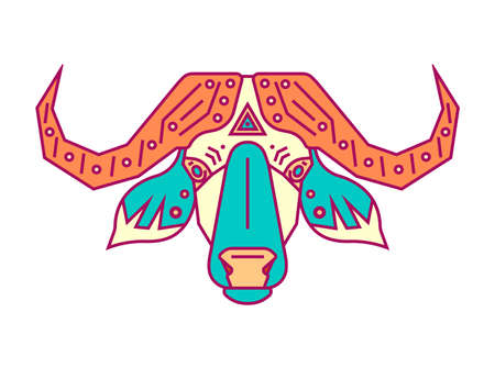 Geometric head of bull. Simple forms. Animal cute icon. Flat style illustration. Illustration