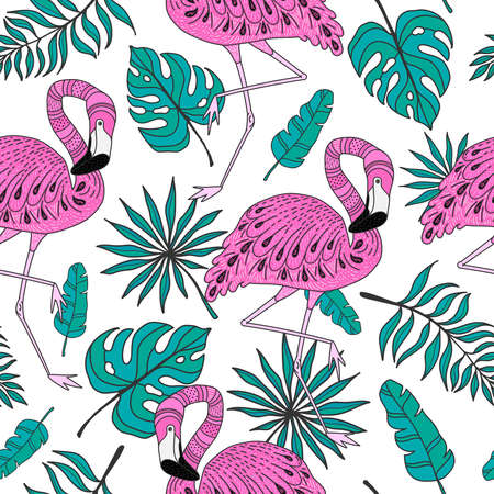 Seamless pattern with flamingo, exotic leaves. Hand drawn vector tropical elements on white background.