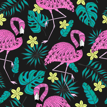 Seamless pattern with a flamingo and exotic leaves. Hand drawn vector tropical elements on dark background