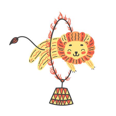 かわいいライオンのベクターイラスト。火の輪を飛び越えろ。トリックをやっているサーカス動物アーティスト
