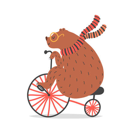 Vector illustration of bear on red bicycle. Circus artist doing trick