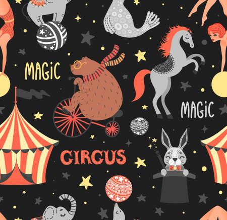 Vector illustration of circus animal. Cute cartoon characters. Set. Seamless pattern