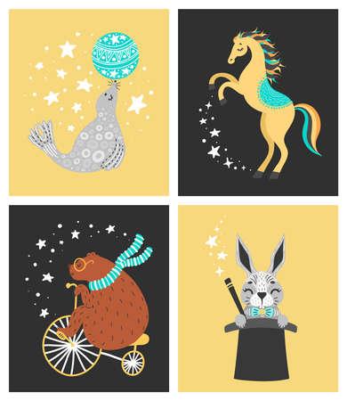 サーカス動物のベクターイラスト。かわいい漫画のキャラクターセット