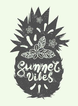 Hand drawn vector illustration of half pineapple. Colorful design for t-shirt. Doodle style Ilustração