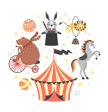 Vector illustration of circus animal. Cute cartoon characters Set