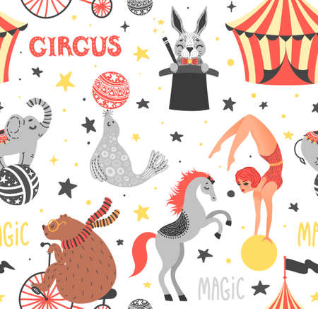 Vector illustration of circus animal. Cute cartoon characters. Set. Seamless pattern